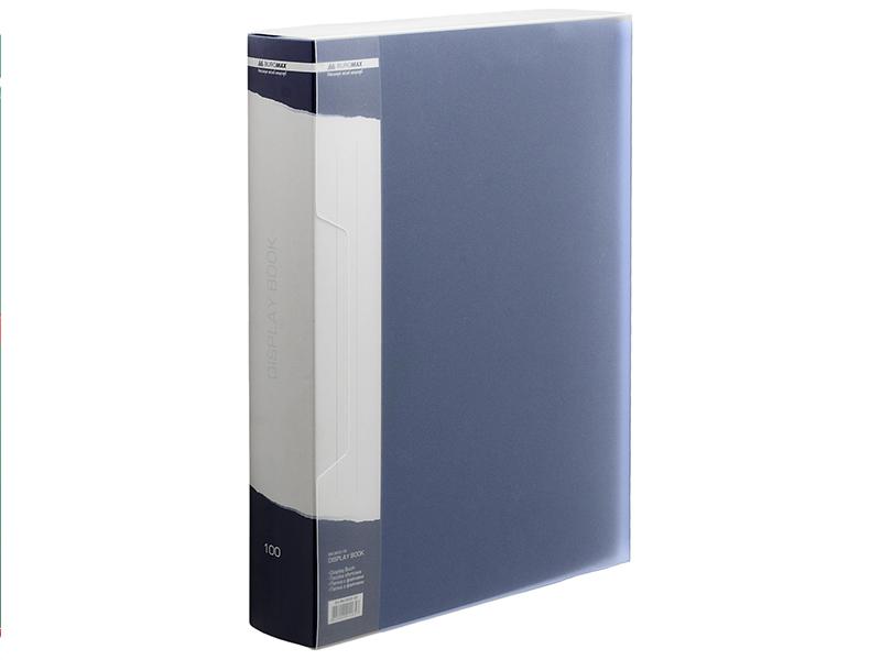 Папка з 100 файлами А4 в боксі, пластик 950мкм, Buromax, синій