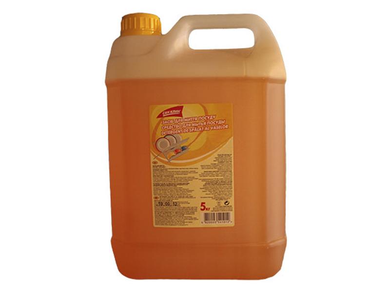 Засіб для миття посуди Сан-Клин 5кг без фосфатів, лимон