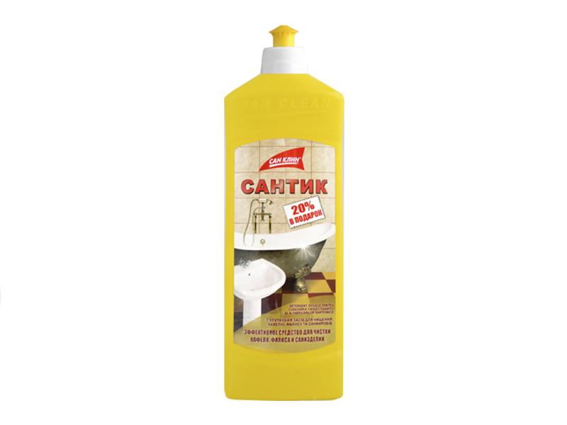 Засіб проти іржі, вапняного нальоту САНТІК 500г, ковпачок-дозатор (жовта бутилка)