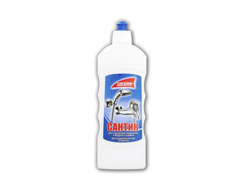 Засіб проти іржі, вапняного нальоту САНТІК 500г, ковпапчок-дозатор (синя бутилка)