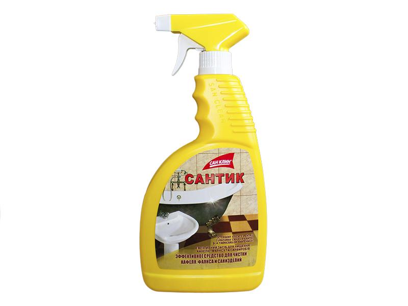 Засіб проти іржі, вапняного нальоту САНТІК 750г з розпилювачем (жовта бутилка)