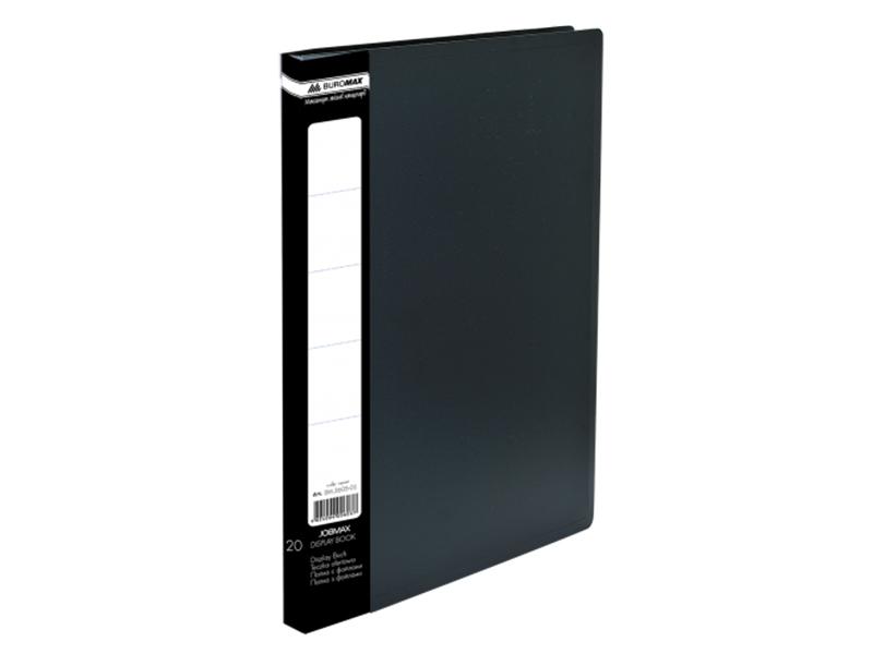 Папка з 20 файлами А4, пластик 450мкм, Buromax JOBMAX, чорний