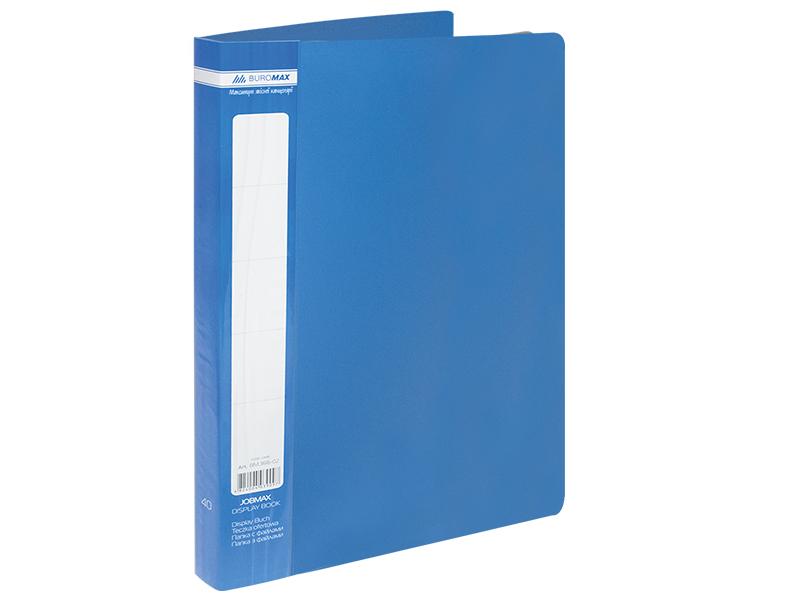 Папка з 40 файлами А4, пластик 500мкм, Buromax JOBMAX, синій