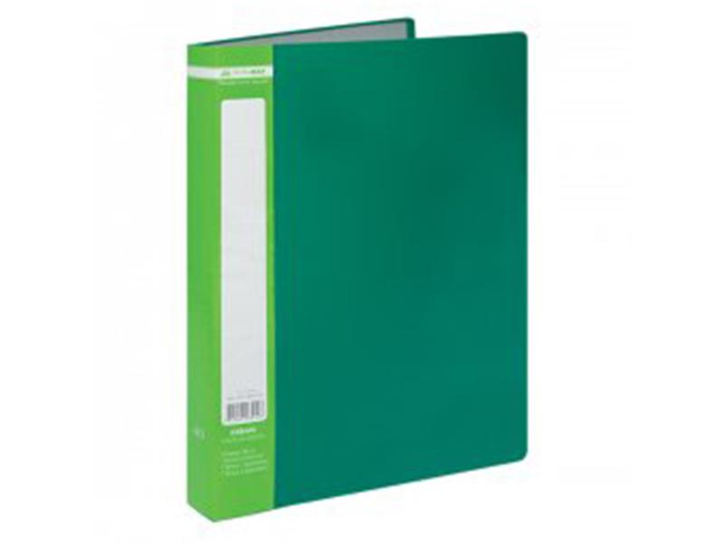Папка з 40 файлами А4, пластик 500мкм, Buromax JOBMAX, зелений