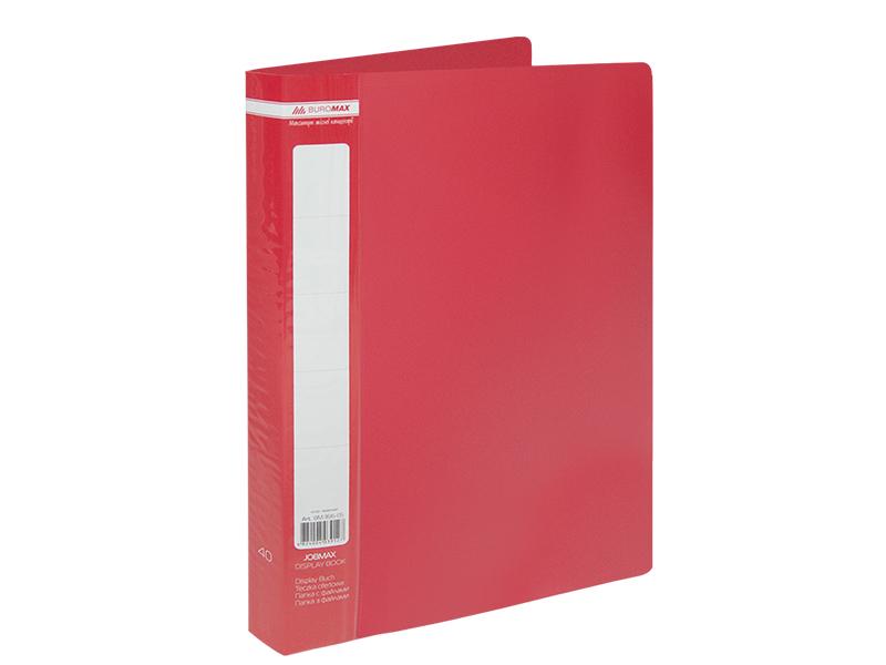 Папка з 40 файлами А4, пластик 500мкм, Buromax JOBMAX, червоний