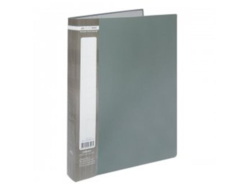 Папка з 40 файлами А4, пластик 500мкм, Buromax JOBMAX, сірий