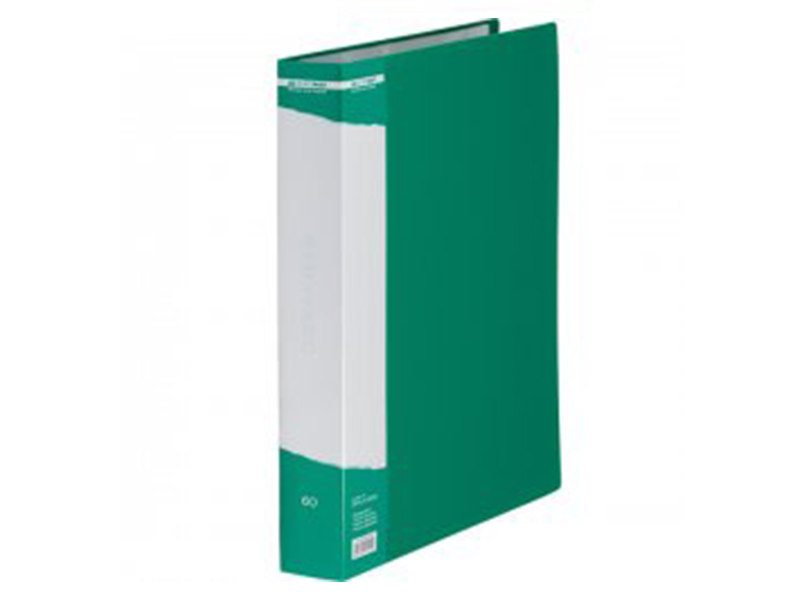 Папка з 60 файлами А4, пластик 500мкм, Buromax JOBMAX, зелений
