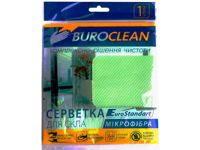 Серветка мікрофібра для вікон, дзеркал 30х30см BUROCLIAN 1шт, салатовий