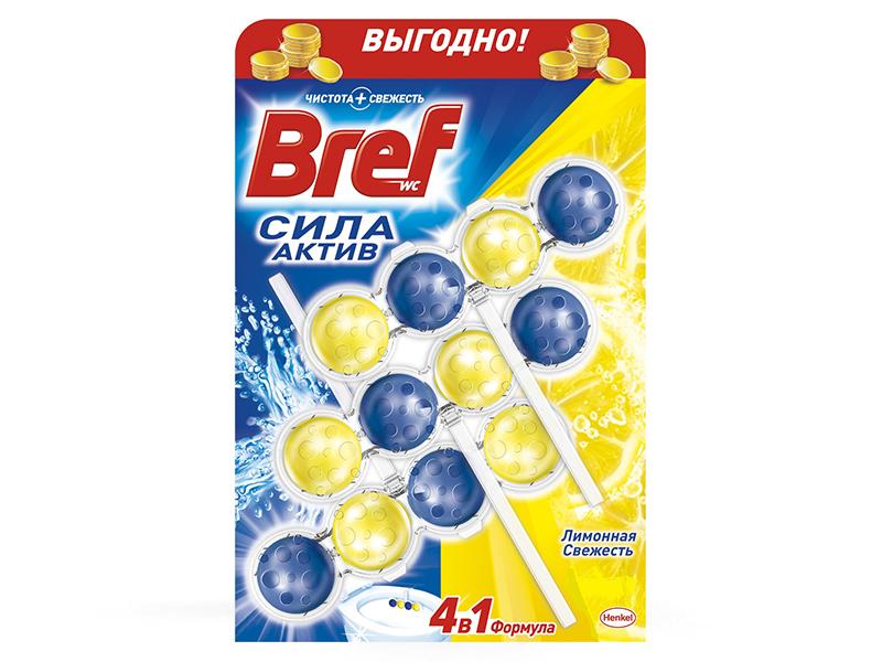 Засіб для чищення унітаза Bref гель-тріопак 3*4шарики 3*50мл лимон