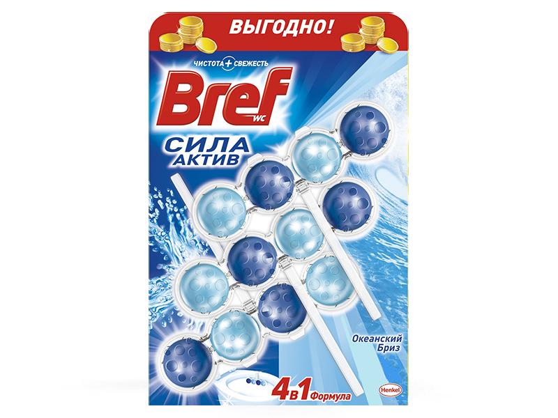 Засіб для чищення унітаза Bref гель-тріопак 3*4шарики 3*50мл океан