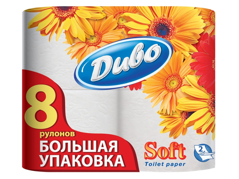 Туалетний папір в рулоні целюлозний 2шар. 150відр (8рул) Диво Soft, білий