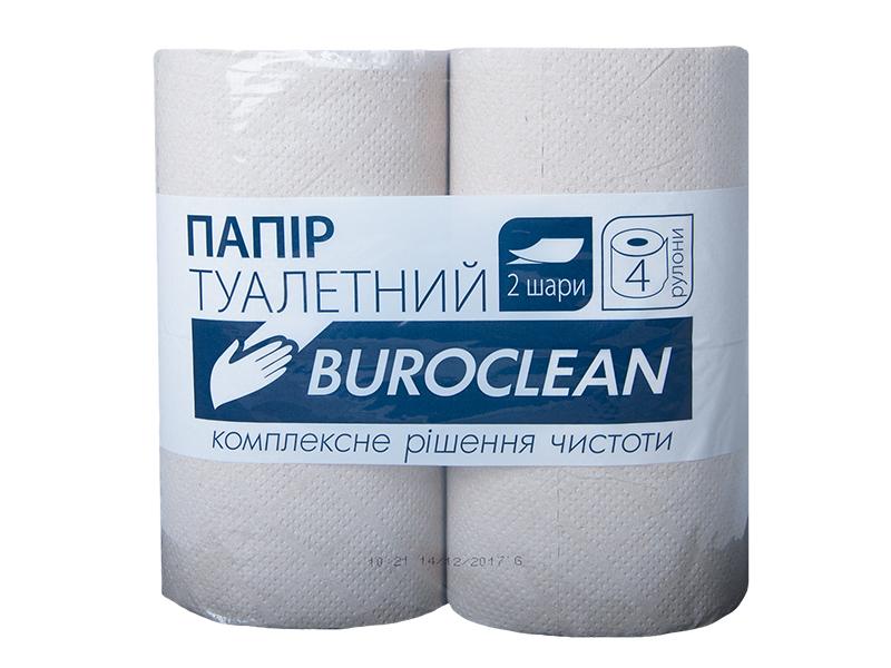 Туалетний папір в рулоні макулатурний з гільзою 2шар. /130відр. (4рул) BUROCLIAN, сірий