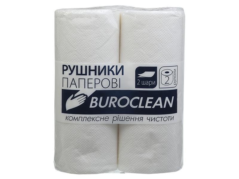 Рушники паперові целюлозні в рулоні 2шар/38відр. (2рул) Buroclean, білі