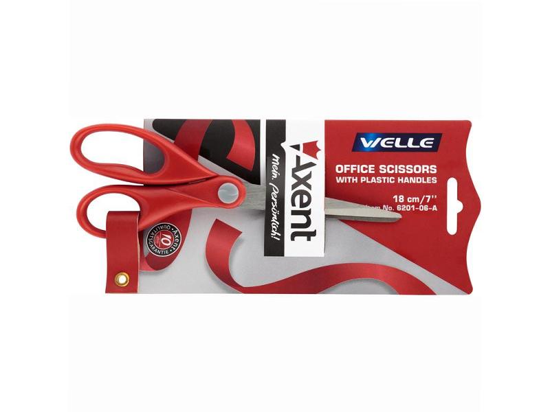 Ножиці офісні 180мм Axent з гумовими вставками, червоні Welle
