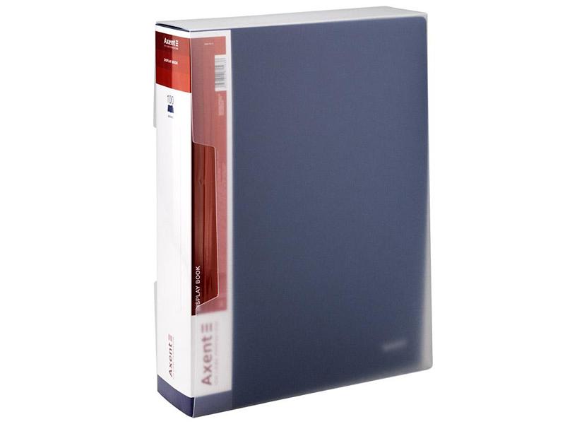 Папка з 100 файлами А4 в боксі, пластик 950мкм Axent, синій
