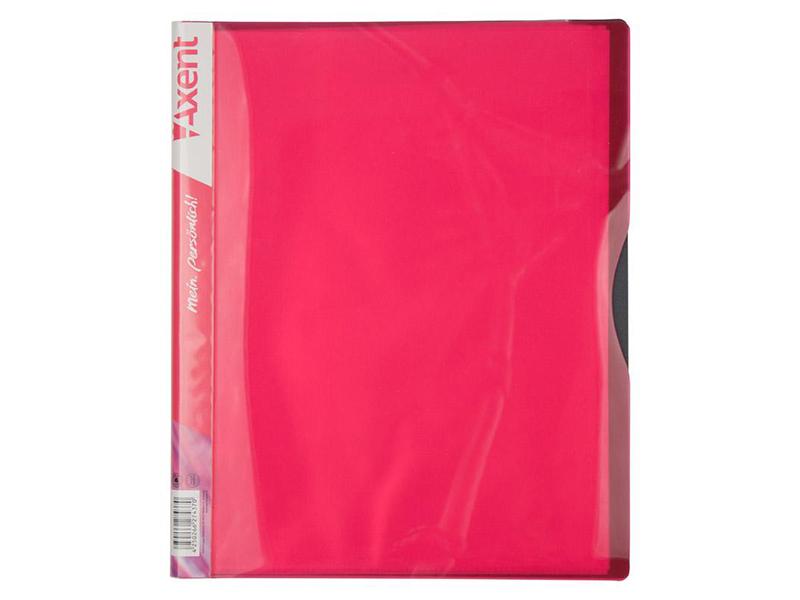 Папка з 40 файлами А4, пластик 700мкм, AXENT 1140, рожевий