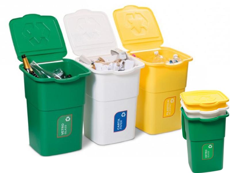 Набір із трех Баків для сміття з кришкою 50л. DEA home ECO-3 (білий/жовтий/зелений)