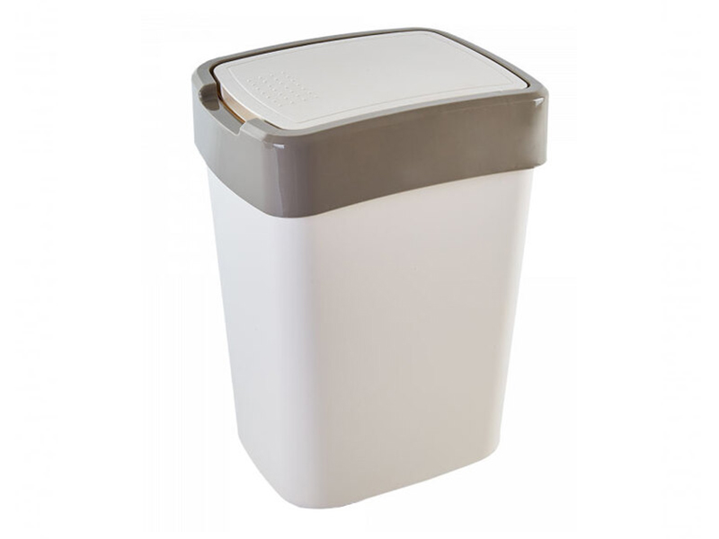 Корзина пластикова з гойдаючою кришкою 25л Aleana ЄВРО, біла/сіра
