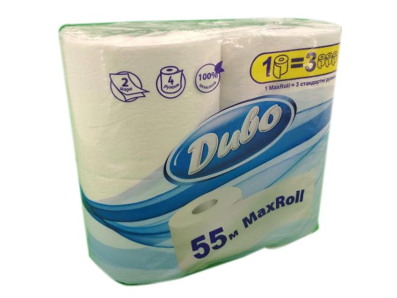 Туалетний папір в рулоні целюлозний 2шар. 150відр (4рул) Диво Max Roll 55 метров, білий