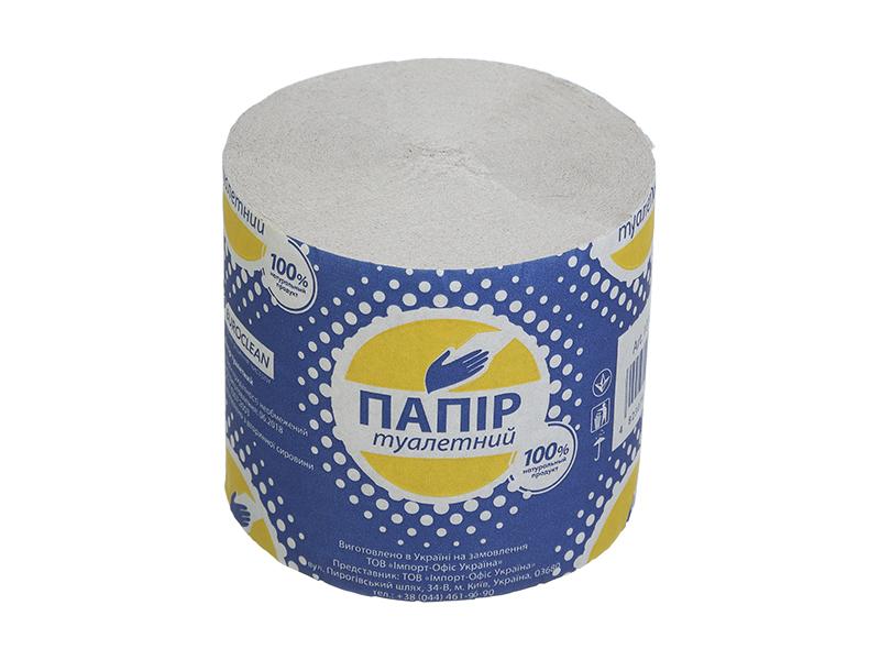 Туалетний папір в рулоні макулатурний без гільзи BUROCLIAN 1шт, сірий