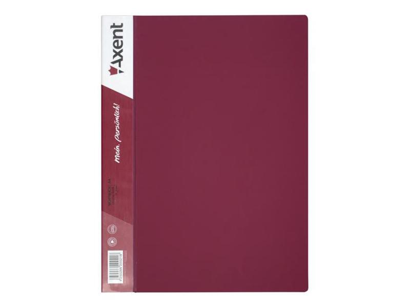 Папка з 10 файлами А4, пластик 550мкм, AXENT 1010, бордовий