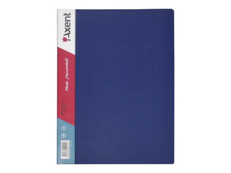 Папка з 10 файлами А4, пластик 550мкм, AXENT 1010, синій