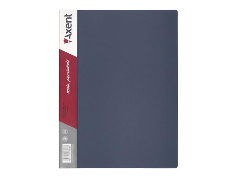 Папка з 10 файлами А4, пластик 550мкм, AXENT 1010, сірий
