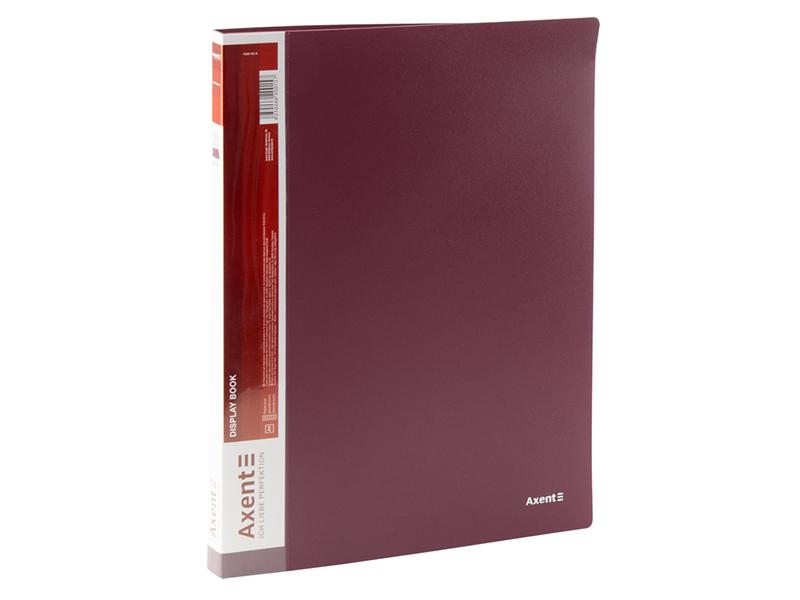 Папка з 20 файлами А4, пластик 600мкм, AXENT 1020, бордовий