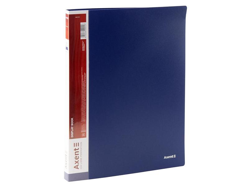 Папка з 20 файлами А4, пластик 600мкм, AXENT 1020, синій