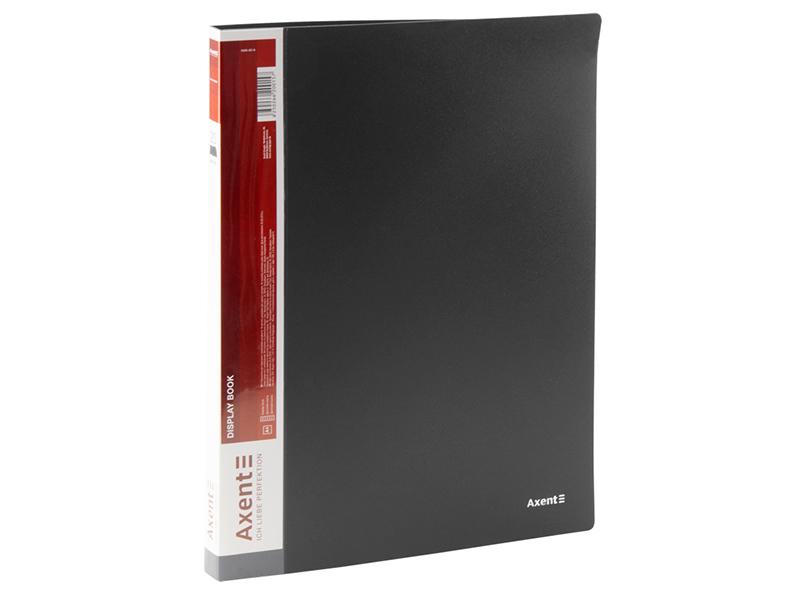 Папка з 20 файлами А4, пластик 600мкм, AXENT 1020, чорний