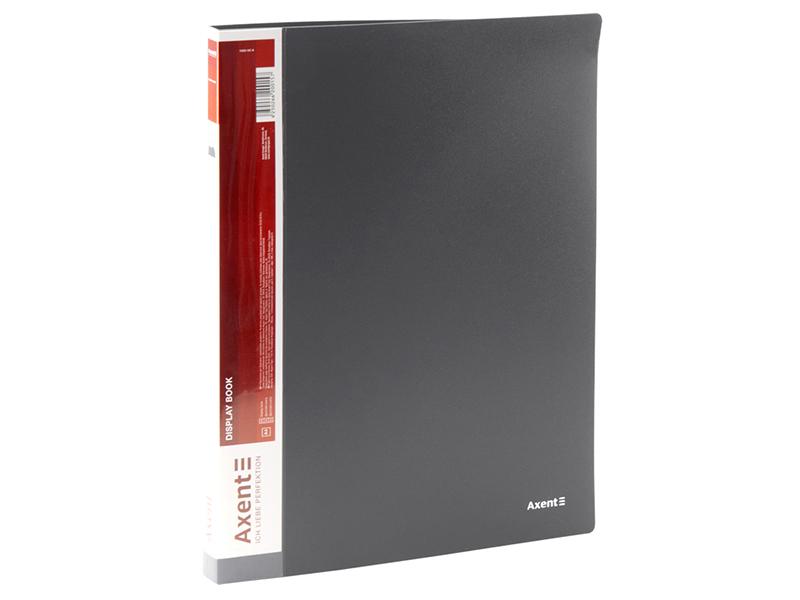Папка з 20 файлами А4, пластик 600мкм, AXENT 1020, сірий