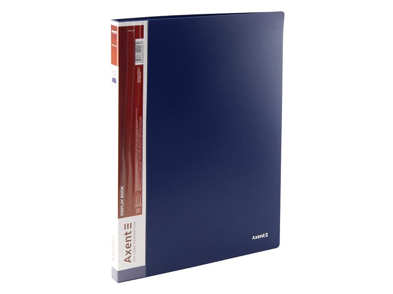 Папка з 30 файлами А4, пластик 600мкм, AXENT 1030, синій