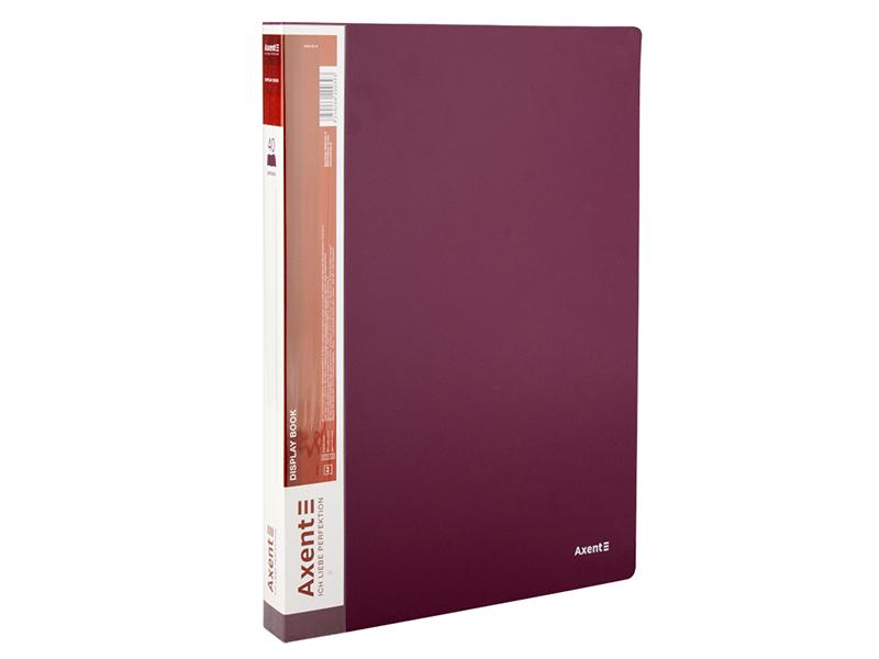 Папка з 40 файлами А4, пластик 700мкм, AXENT 1040, бордовий
