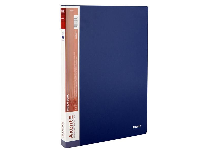 Папка з 40 файлами А4, пластик 700мкм, AXENT 1040, синій