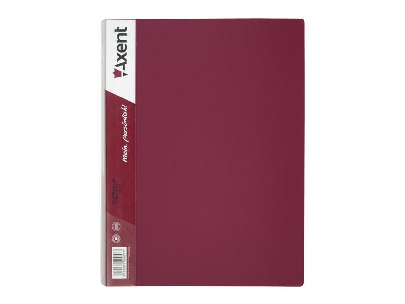 Папка з 60 файлами А4, пластик 800мкм, AXENT 1060, бордовий