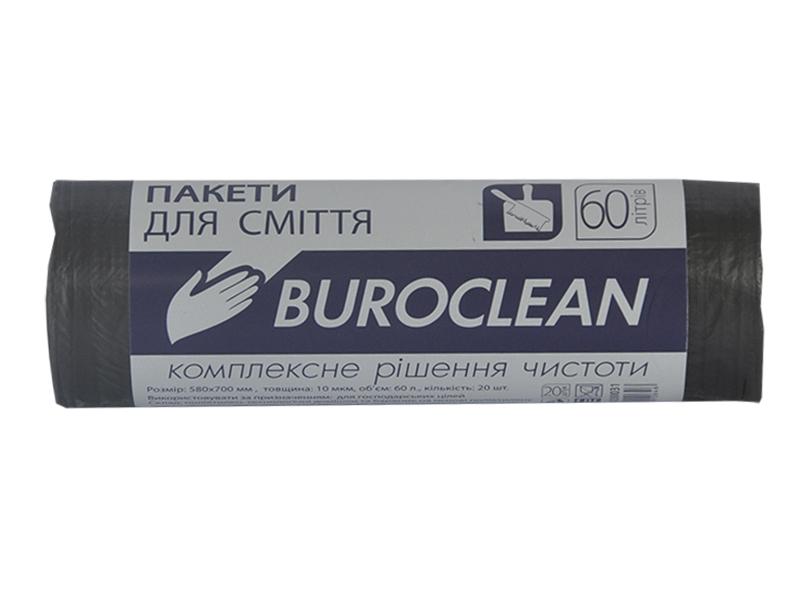 Мішки для сміття 60л 10мкм (LD) 40шт BUROCLIAN EuroStandart, чорні