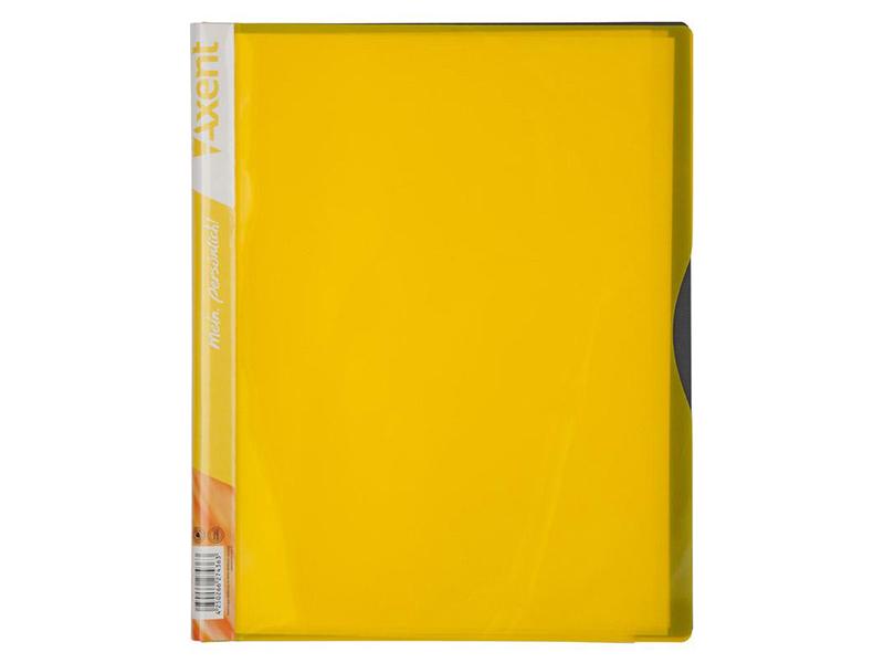 Папка з 40 файлами А4, пластик 700мкм, AXENT 1140, жовтий