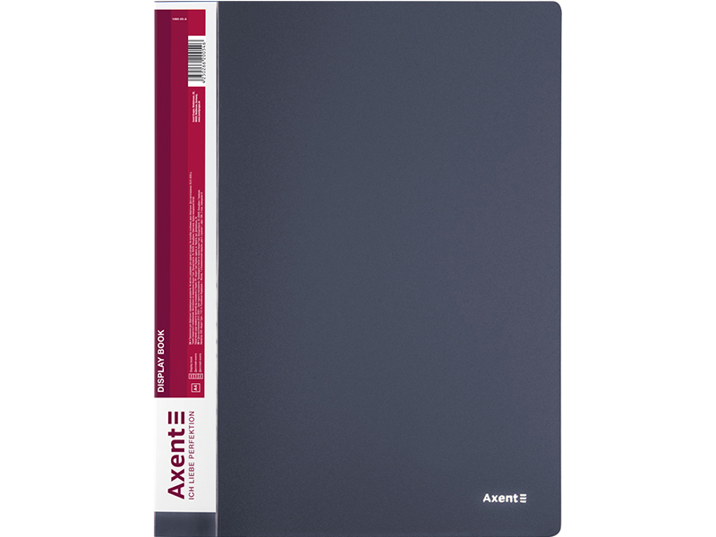 Папка з 60 файлами А4, пластик 800мкм, AXENT 1060, сірий