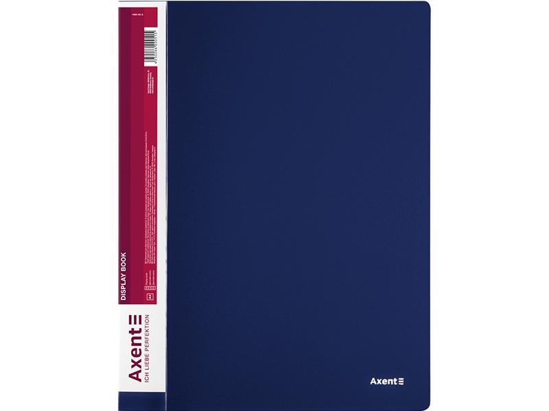 Папка з 60 файлами А4, пластик 800мкм, AXENT 1060, синій