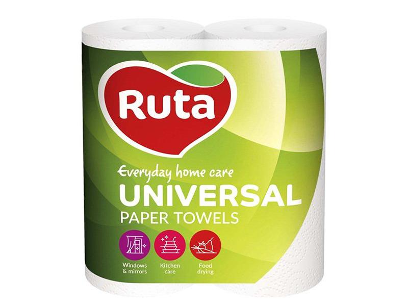"""Рушники паперові целюлозні в рулоні 2шар/62відр. (2рул) Ruta """"Universal"""", білі"""