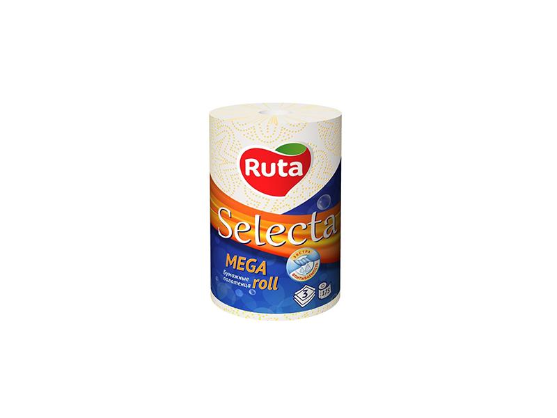 """Рушники паперові целюлозні в рулоні 3шар/175відр. (1рул) Ruta """"Selecta Mega roll"""", білі"""