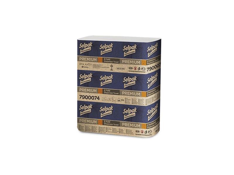 Рушники паперові Z-скл. целюлозні 2-шарові 200шт SELPAK Pro Premium, білі