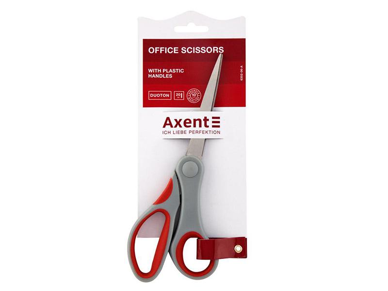 Ножиці офісні 200мм Axent з гумовими вставками, сіро-червоні Duoton