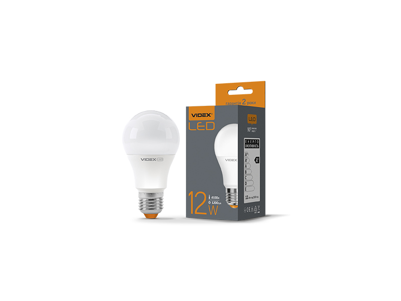 Лампа светодиодная E27,  12W, VIDEX нейтральная  A60 4100K