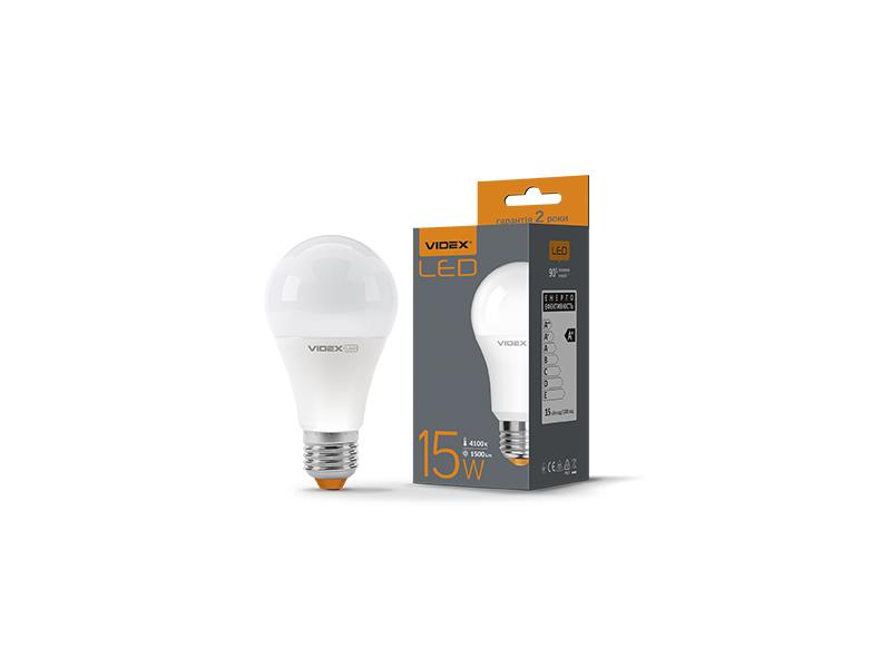 Лампа светодиодная E27,  15W, VIDEX нейтральная  A60 4100K
