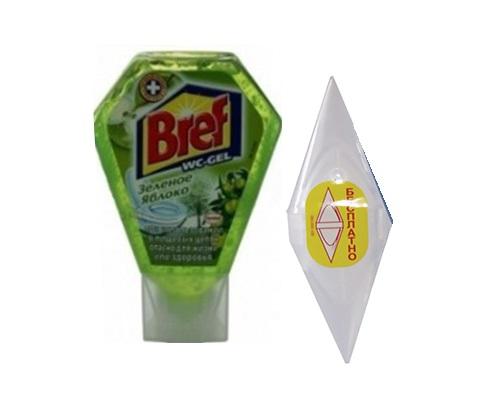 Засіб для чищення унітаза гель Bref 360мл з корзинкою, зелене яблуко