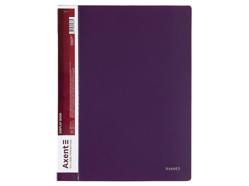 Папка з 40 файлами А4, пластик 700мкм, AXENT 1040, сливовий
