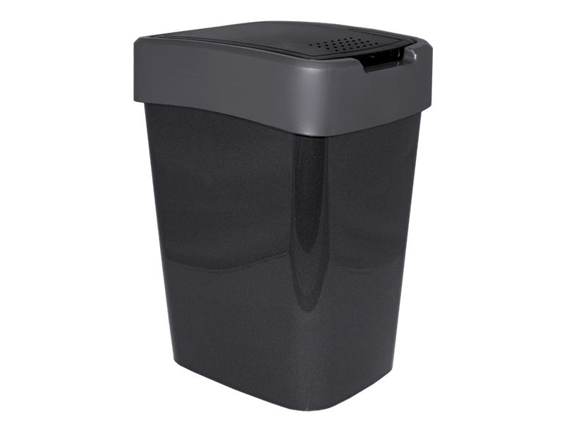 Корзина пластикова з гойдаючою кришкою 25л Aleana ЄВРО, граніт/сірий