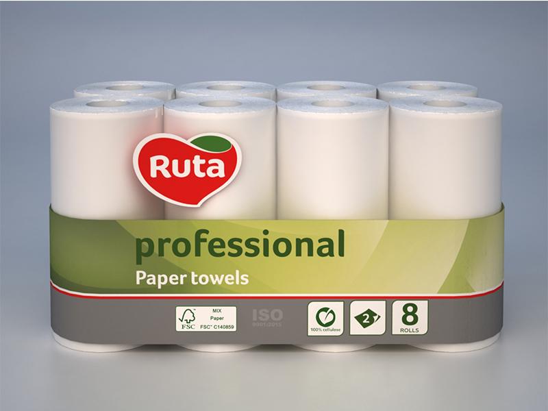 """Рушники паперові в рулоні целюлозні 2шар/45відр. (8рул) Ruta """"Professional"""", білі"""