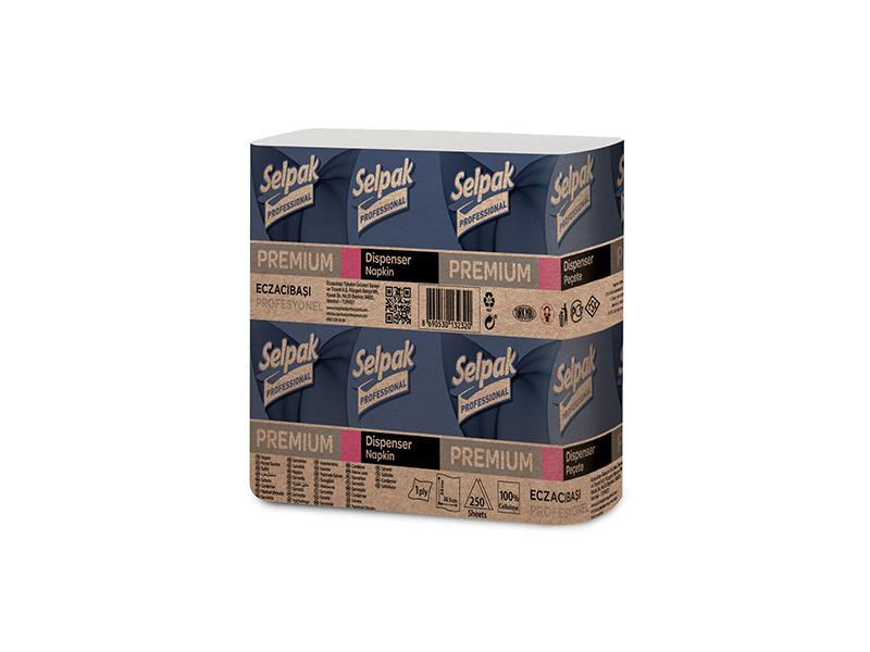 Серветки для диспенсерів целюлозні 24х26,5см 2шар 250шт Selpak Pro Premium білі